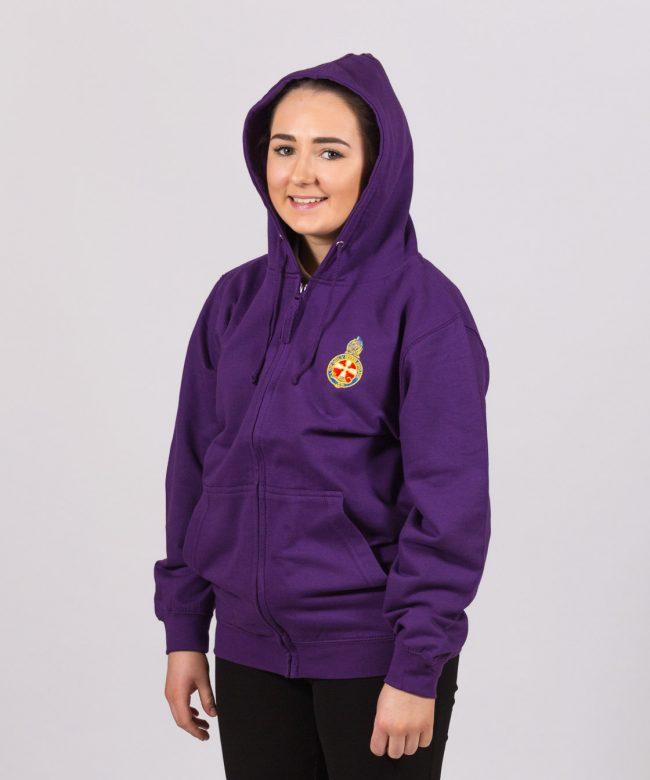Girl wearing the Brigader Purple Zoodie