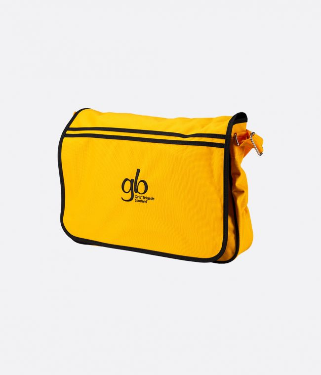 yellow retro messenger bag