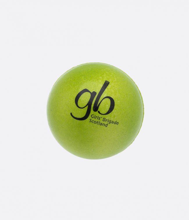 green metallic sponge ball