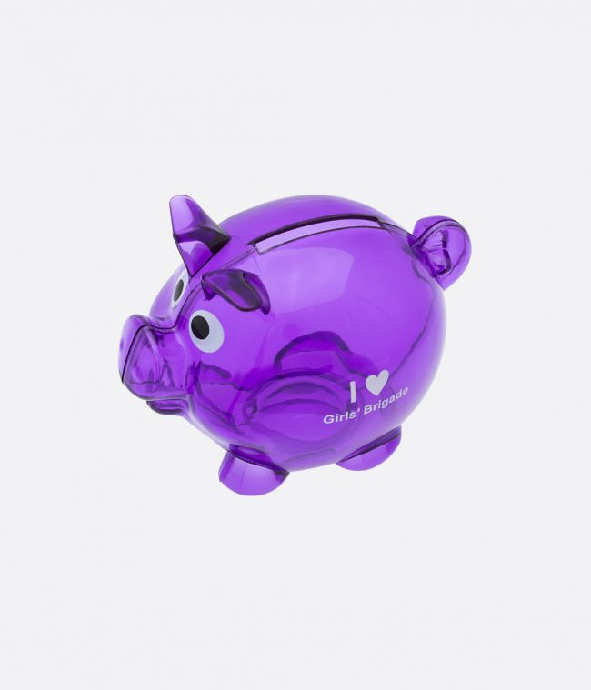 purple piggy bank