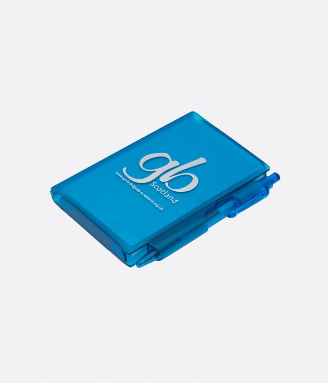 case notebook with pen blue