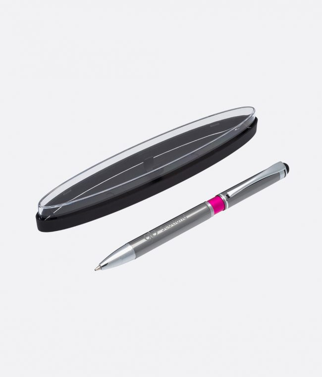 silver ball pen in case