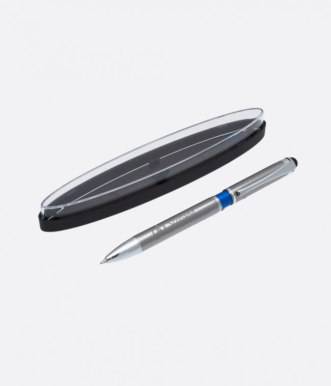 silver ball pen in case blue