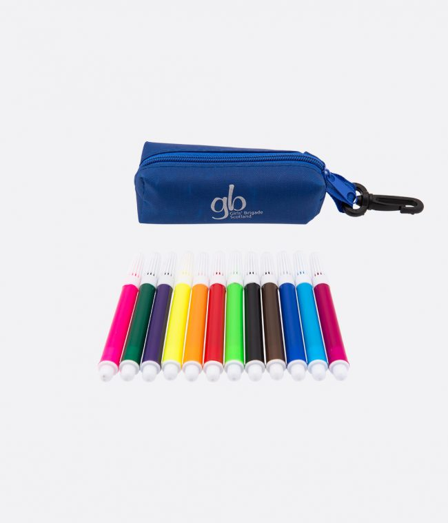 mini felt tip pens and case blue