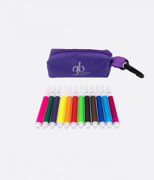 mini felt tip pens and case purple