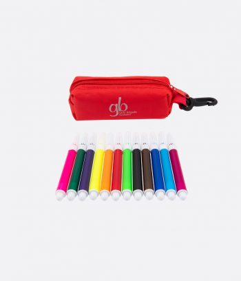 mini felt tip pens and case red