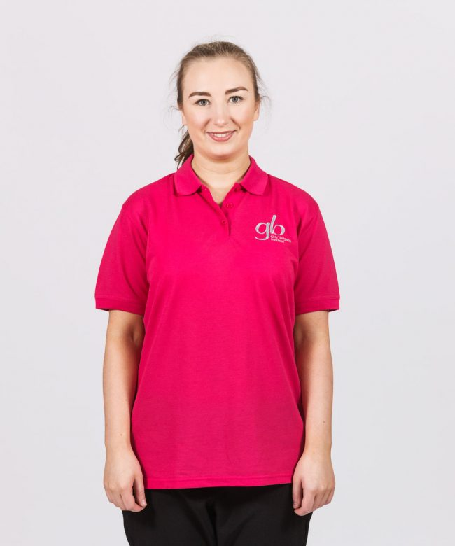 Leader Hot Pink Crested Polo